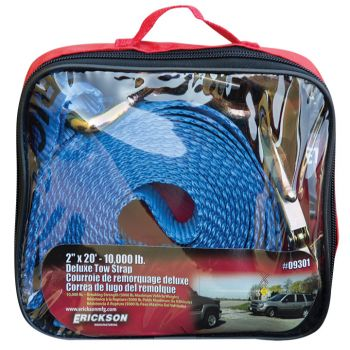 """Blue 2"""" x 20"""" 10,000 lb Tow Strap w/ Forged Safety Snap Hook"""