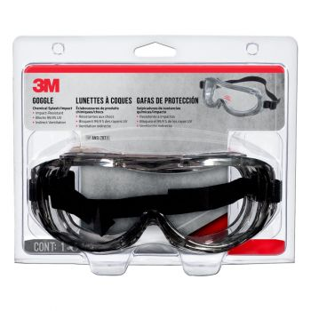 3M™ Gray Pro Chemical Splash/Impact Resistant Safety Goggles