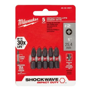 #2 Phillips SHOCKWAVE™ Impact Bits (5 Pk)