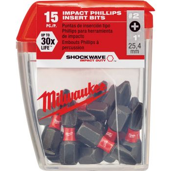 #2 Phillips SHOCKWAVE™ Impact Bits (15 Pk)