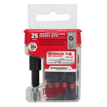 #2 Phillips SHOCKWAVE™ Impact Bits (25 Pk)