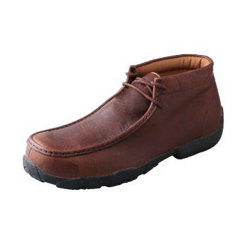 Twisted X Boots Men's Driving Moc Cognac Glazed Pebble Leather, 9.5M