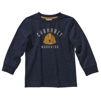 Carhartt Boy's Long Sleeve Heather Graphic T-shirt, Navy Blazer Heather (2T - 4T)
