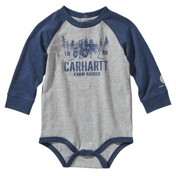 Carhartt Boy's Long Sleeve Rugged Workwear Bodyshirt, Grey Heather (3M - 24M)