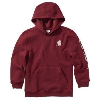 Boy's Hooded Pullover Logo Sweatshirt, Rhubarb