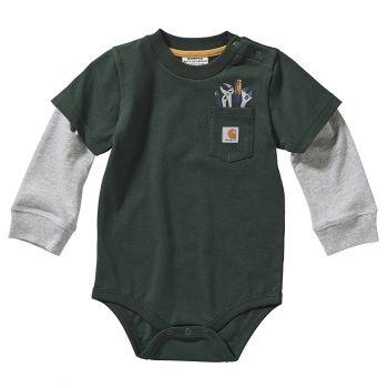 Carhartt Boy's Long Sleeve Pocket Bodyshirt, Deep Forest (3M - 24M)