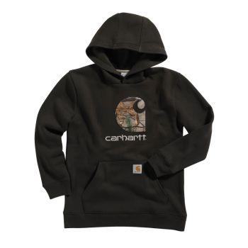 Boy's Hooded Pullover Big Camo C Sweatshirt, Mustang Brown