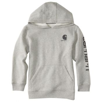 Boy's Hooded Pullover Logo Sweatshirt, Grey Heather