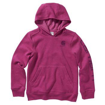 Girl's Hooded Pullover Heather Fleece Sweatshirt, Very Berry Heather, 5