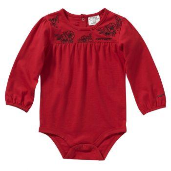 Girl's Long Sleeve Shirred Yoke Bodyshirt, Jalapeno Red, 12M