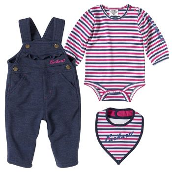 Carhartt Girl's 3-Piece French Terry Overall Set, Indigo Heather (3M - 24M)