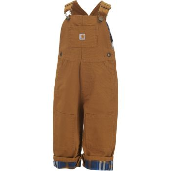 Boy's Flannel Lined Canvas Bib Overall, Carhartt Brown (3M - 4T)