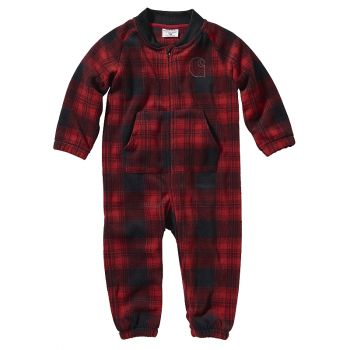 Carhartt Boy's Plaid Fleece Coverall, Jalapeno Red, 12M