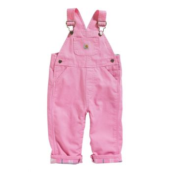 Girl's Flannel Lined Canvas Overall, Rosebloom (3M - 24M)