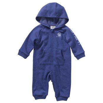 Girl's Heather Fleece Coverall, Dark Grape Heather (3M - 24M)