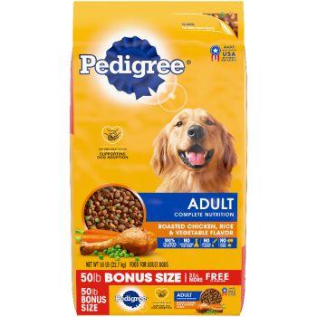 Pedigree Adult Complete Nutrition Roasted Chicken, Rice & Vegetable Flavor Dog Food, 50 lb.