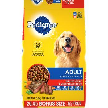 Pedigree Adult Complete Nutrition Grilled Steak & Vegetable Flavor Dog Food, 20.4 lb.
