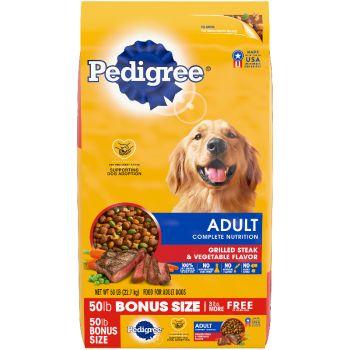 Pedigree Adult Complete Nutrition Grilled Steak & Vegetable Flavor Dog Food, 50 lb.
