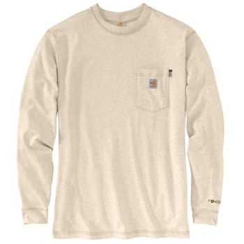 Men's FR Force Original Fit Midweight Long-Sleeve Signature Logo T-Shirt - Light Khaki Heather