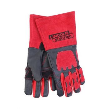 Lincoln Electric Red and Black Premium Leather Welding Gloves