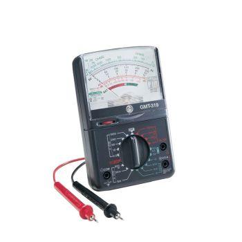 Analog Multimeter, 7 Func, 19 Range, AC/DC Volt, DC Current, Resist, Continuity, Decibl, Batt 1.5/9V, Manual Range