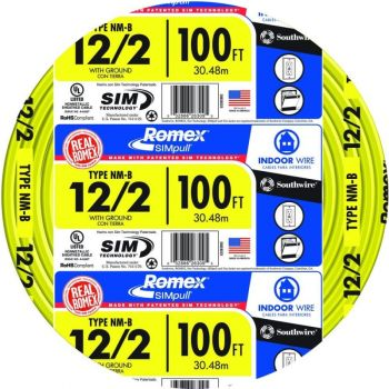 Wire, 12/2 Solid Romex SIMpull CU NM-B W/G, 100 ft