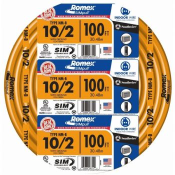 Wire, 10/2 Solid Romex SIMpull CU NM-B W/G, 100 FT.