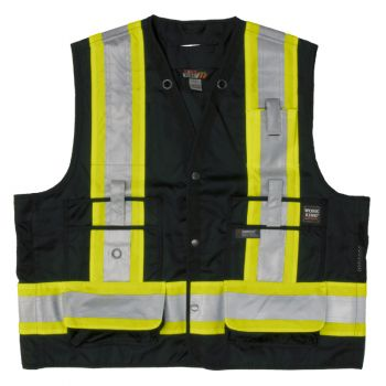 Tough Duck Surveyor Safety Vest, Black, XL