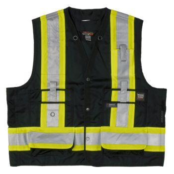 Tough Duck Surveyor Safety Vest, Black, 2XL