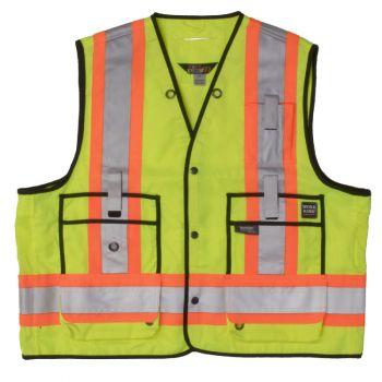 Tough Duck Surveyor Safety Vest, Fluorescent Green, XL