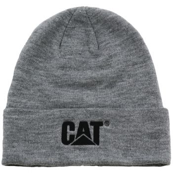 CAT Trademark Cuff Beanie, Dark Heather Grey, OS