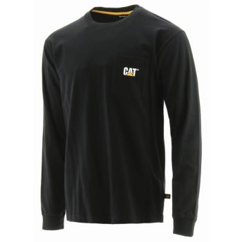 CAT Trademark Pocket Long Sleeve Tee, Black
