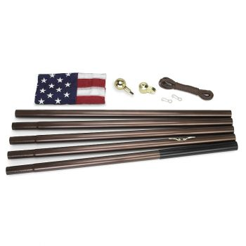 18' Steel Flag Pole Kit with 3'x5' Polycotton USA Flag & Bronze Colored Pole