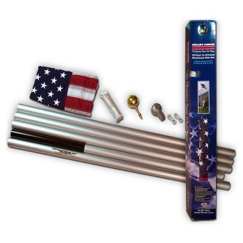 20' Aluminum Flag Pole Kit with 3'x 5' Nylon U.S.A. Flag