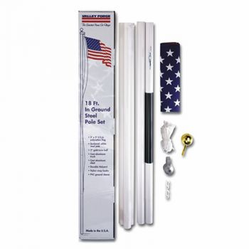 18' Steel Flag Pole Kit with 3'x5' Polycotton USA Flag