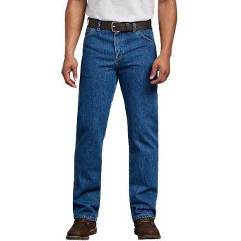 Dickies Men's Regular Straight Fit 6-Pocket Denim Jeans, Stonewashed Indigo Blue, 38x30