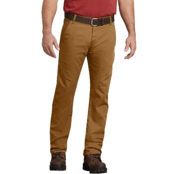 Dickies Men's FLEX Regular Fit Straight Leg Tough Max™ Duck Carpenter Pants, Stonewashed Brown Duck, 42x32
