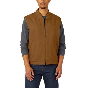 Dickies Men's Sherpa Lined Duck Vest, Rinsed Brown Duck, 2X