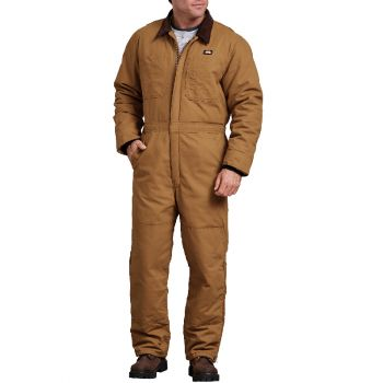 Dickies Men's Sanded Duck Insulated Coveralls, Rinsed Brown Duck, XLT
