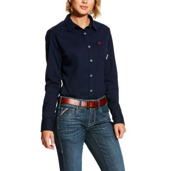 Women's FR Taylor Knit Work Shirt – Navy