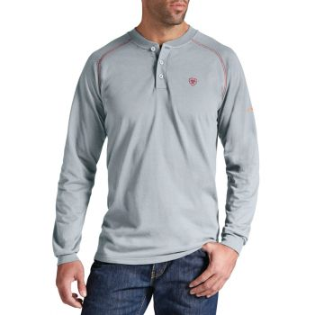 Men's FR Henley Top - Slver Fox
