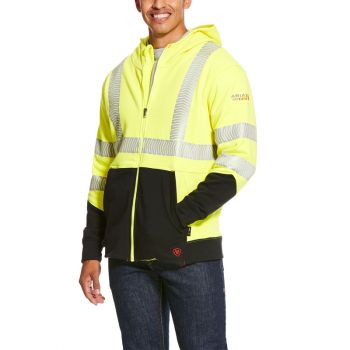 Men's FR HI-VIS Full Zip Hoodie - High-Vis Yellow