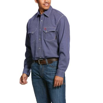 Men's FR Mantle Snap Work Shirt - Blue Depths
