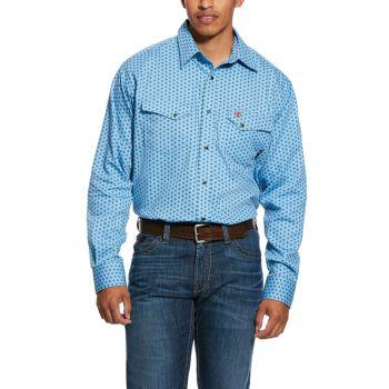 Men's FR Tungsten Snap Work Shirt - Bonnie Blue