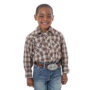 Boy's Dress Western Long Sleeve Plaid Shirt – Assorted
