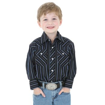 Boy's Dress Western Long Sleeve Stripe Shirt – Assorted