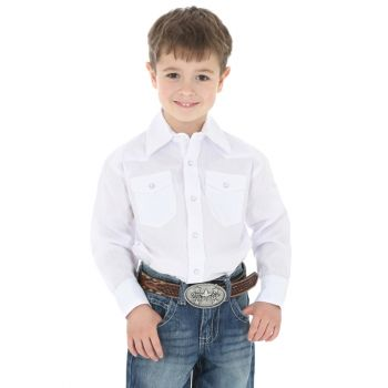 Boy's Dress Western Long Sleeve Solid Shirt – White
