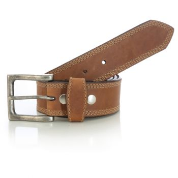 Men's Triple Stitched Belt – Brown