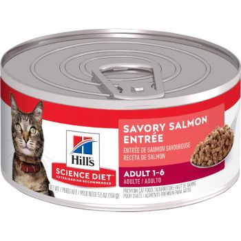 Hill's Science Diet Adult Canned Cat Food, Savory Salmon Entrée, 5.5 oz