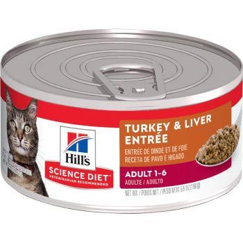 Hill's Science Diet Adult Canned Cat Food, Turkey & Liver Entrée, 5.5 oz